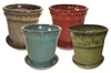 "7"" Round Pots w/Attached Saucers Asst Colors, 4 Per Case"