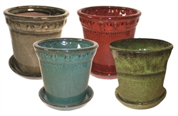 "<b>ADVANCED ORDER</b> 7"" Round Pots w/Attached Saucers Asst Colors, 4 Per Case"