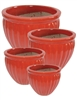 S/4 Glazed Ornate Round Pots - Royal Red