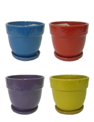 "5.5"" Tapered Round Pots w/Attached Saucer - Assorted Bright Colors, 12 Per Case"