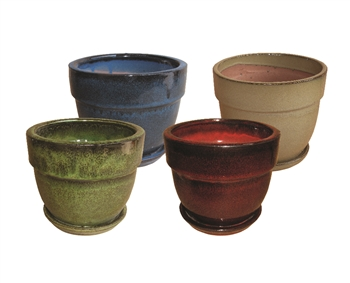 "5.5"" Tapered Round Pots w/Attached Saucer - Assorted Colors, 12 Per Case"