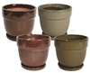 "8"" Tapered Round Pots w/ Attached Saucers, 4 Per Case"