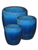 S/3 Tapered Round Pots - Fireworks Blue