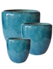 S/3 Tapered Round Pots - Fireworks Green
