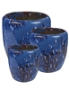 S/3 Tapered Round Pots - Marble Blue