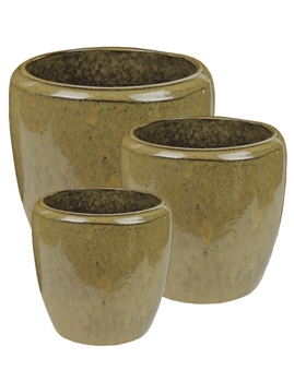 S/3 Tapered Round Pots - Umber