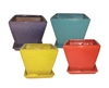 Square Planters w/ Attached Saucers in 4 Assorted Bright Colors, 8 Per Case