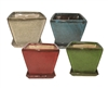 Square Planters w/ Attached Saucers in 4 Asst Colors, 8 Per Case