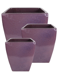 S/3 Tapered Square Pots - Falling Purple