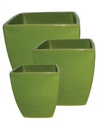 S/3 Tapered Square Pots - Jade Green
