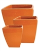 S/3 Tapered Square Pots - Orange