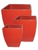 S/3 Tapered Square Pots - Royal Red