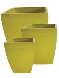 S/3 Tapered Square Pots - Yellow