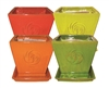 "7"" Square Pots w/Attached Saucers in Atomic Colors, 4 Per Case"