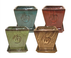 "7"" Square Pots w/Attached Saucers in Asst Colors, 4 Per Case"