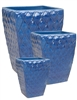 S/3 Tall Square Planters w/ Diamond Design - Light Blue