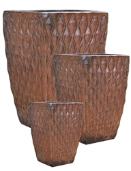 S/3 Tall Square Planters w/ Diamond Design - Saddle Red