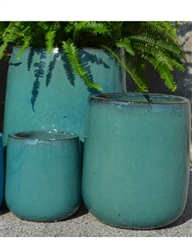 S/3 Round Contempo Pots - Forest Green
