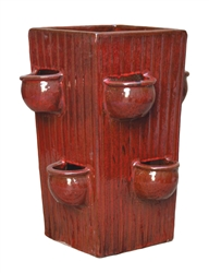 Tall Square Herb Pot - Tropical Red