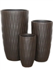 S/3 Round Fibreclay Bamboo Planters