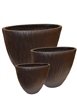 S/3 Oval Fibreclay Bamboo Planters - Brown