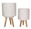 S/2 Fiberclay Cylinders w/ Wooden Legs (No Holes) - White