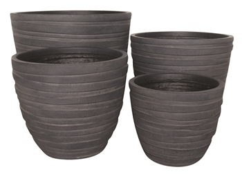 S/4 Round Fibreclay Wave Pots - Black Wash