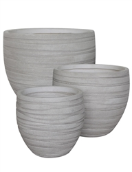 S/3 Round Fibreclay Wave Pots - Antique White