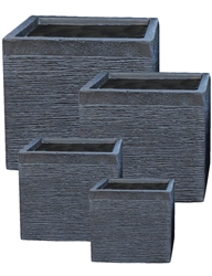 S/4 Cube Fibreclay Planters - Black Washed Scribe