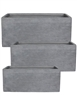 S/3 Large Rectangular Fibreclay Planters - Light Grey Scribe
