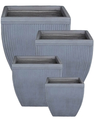 S/4 Tapered Square Fibreclay Vertical Ribbed Planters - Light Grey