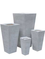 S/4 Tapered Square Fibreclay Stripe Pots - Antique White