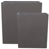 S/2 Extra Tall Rectangular Fibreclay Toughs Smooth Finish - Gun Metal
