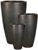 S/3 Tall Round Inca Planters - Matte Black