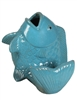 Glazed Ceramic Fish Figurine - Falling Aqua