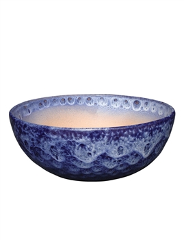 Glazed Low Bowl - Running Cobalt