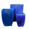 S/3 Single Square Milan Planter - Blue Cloud