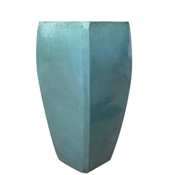 Single Tall Square Milan Planter - Aqua