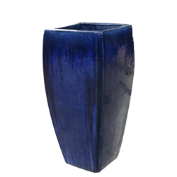Single Tall Square Milan Planter - Blue Cloud