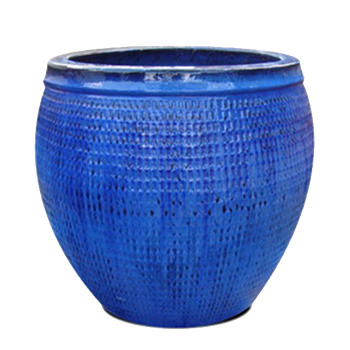 Single Extra Large Round Collar Pot - Blue Cloud