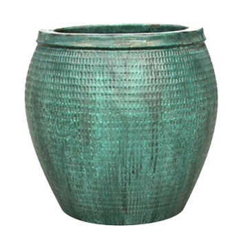 Single Extra Large Round Collar Pot - Opal Green