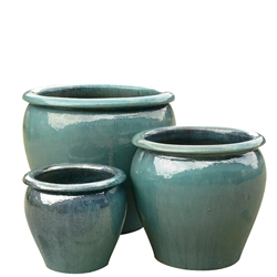 S/3 Tree Planter Round Pots - Aqua