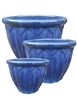 S/3 Glazed Round Decorative Rim Pots - Falling Blue