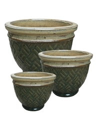 S/3 Round Lattice Pots - Desert Green