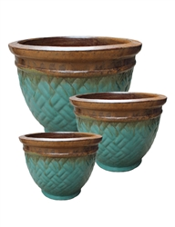 S/3 Round Lattice Pots - Jade Green