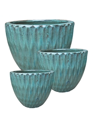 S/3 Round Designer Pots - Falling Green