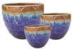 S/3 Round Accent Planters - Tropical Blue