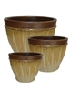 S/3 Round Wave Pots - Brown Cream