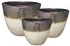 S/3 Round Flower Petal Pots - Black Over White