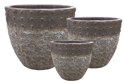 S/3 Round Planters - Two Tone Brown